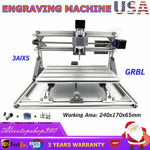 2417 Cnc Router 3axis Usb Mini Engraver Machine Diy Milling Engraving Machine Us