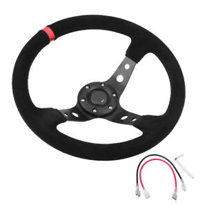 350mm Deep Dish 6 Bolts Suede Leather Jdm Sport Racing Drifting Steering Wheel