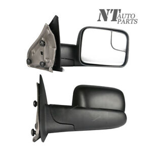 Fit Dodge Ram 1500 2500 3500 Towing Mirrors Heated Flip up Black 2002 2008