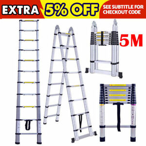 16 5ft 5m Aluminum Telescopic Extension Ladder Multi purpose Scaffold Heavy Duty