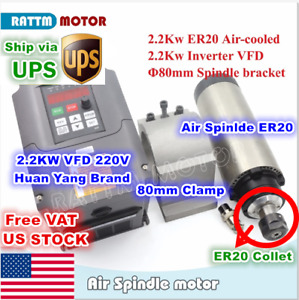usa 2 2kw Er20 220v Air Cooled Spindle Motor 2 2kw Vfd Inverter 3hp 80mm Clamp