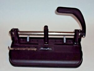Vintage Swingline 3 Hole Punch Model 350 400 Black Lever Handle Heavy Duty