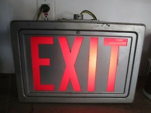 Large Vintage Lighted Exit Sign In Cast Metal