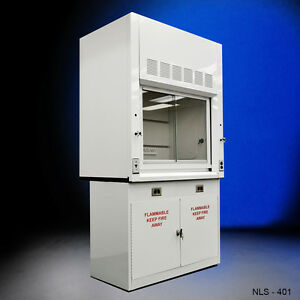 4 Chemical Fume Hood With Flammable Base Cabinets In Stock