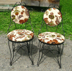 Pair Of Antique Twisted Metal Ice Cream Chairs