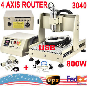 4 Axis 3040 Usb Cnc Router Engraver Engraving Cutter Ballscrew Desktop Cutting