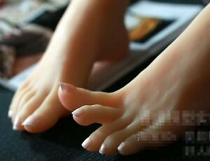 New Lifesize Realistic Silicone Foot Mannequin Fetish 1 Pair Jewelry Display 58