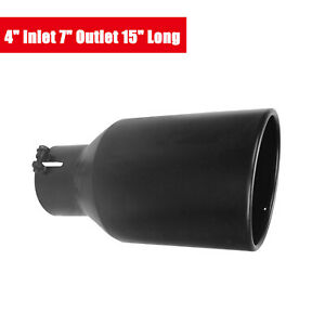 4 Inlet 7 Outlet 15 Length Diesel Stainless Steel Bolt On Exhaust Tip Black