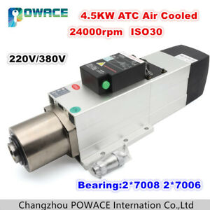 4 5kw 220 380v Iso30 Atc Air Cooled Spindle Motor 24000rpm Automatic Tool Change