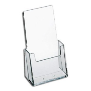 24 pk 4 in Office Desktop Clear Trifold Business Card Brochure Display Holder