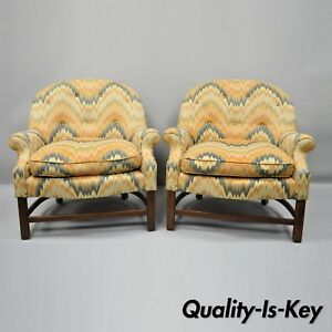 Pair Of Vintage Edward Wormley Style Barrel Back Upholstered Club Lounge Chairs