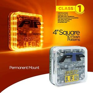 4 Square Permanent Mount Led Warning Light With 10 Selectable Flash Patterns