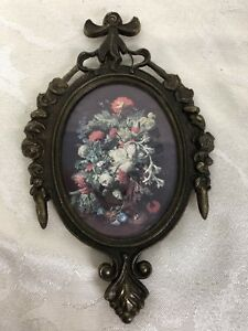 Small Vintage Ornate Metal Oval Floral Picture Frame Made In Italy