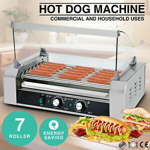 Commercial Hot Dog Roller Grill Cooker Machine Stainless Steel Tabletop W cover