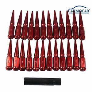 24pc Red Spike Lug Nuts 4 5 Tall Fits 6 Lug Gmc Chevy Ford Vehicles 14x1 5