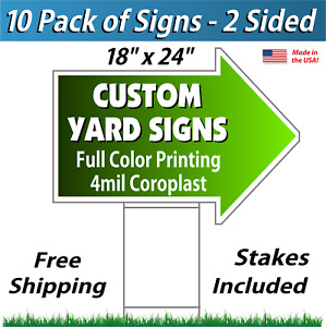 10 18x24 Yard Signs Arrows Full Color Corrugated Plastic Free Stakes 2s