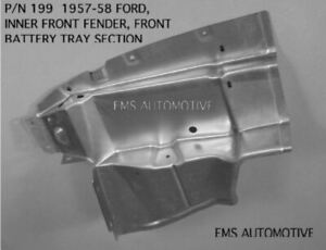 1957 58 Ford Inner Fender Battery Tray Section