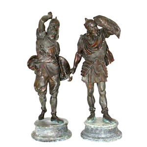 Pair Of Late 19th Century Spelter Warrior Figures 1800s
