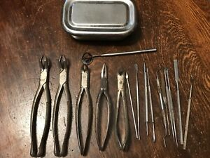 Lot Of 16 Vintage Dental Tools Extraction Picks Mirror Lidded Tray Clev dent