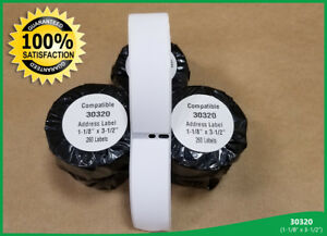 30 Rolls White Rectangular Address Labels Dymo Compatible 30320 Thermal Print