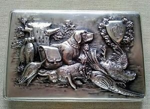 Antique Russian Silver Cigarette Case Hunting Scene Late 19th Century