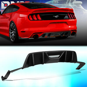 For 2015 2017 Ford Mustang Rear Bumper Quad Fin Diffuser side Valence Body Kit
