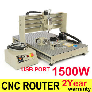 1500w Usb Cnc 6090 Vfd Router 4axis Engraver Metal Drilling Milling Machine Ups