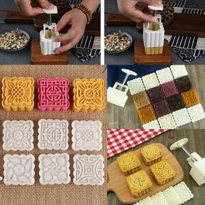 Moon Cake Mold Mould Hand Pressure Flower Pastry Baking 50g Round+6 Stamps Decor