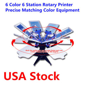 Us Stock screen Printing 6 Color 6 Station Rotary Printer Precise Matching Color