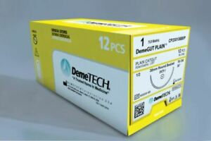 Demetech Surgical Sutures Plain Catgut Reverse Cutting 12pc pack