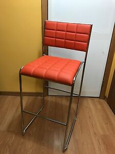 Restaurant bar Chairs Modern Orange Tufted Leather Bar Chairs Set Of 4