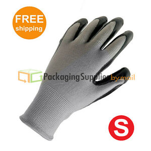Grey Nitrile Dipped Nylon Work Gloves Size Small Industrial Grade 60 Pairs