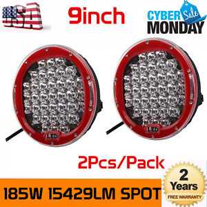 2x 9inch 185w Red Cree Led Round Work Light Spot Driving Head Light Offroad Jeep