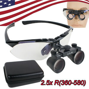 Dental Clinic Surgical Binocular Loupes 2 5x Optical Glass Loupe 420 520mm