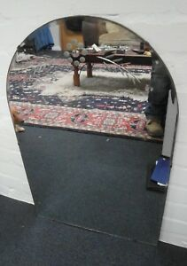 Frameless Antique Art Deco Etched Wall Mirror 1930s Bevelled Edge