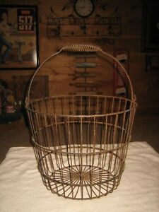 Vintage Rustic Large Antique Metal Egg Basket With Spiral Wire Metal Handle
