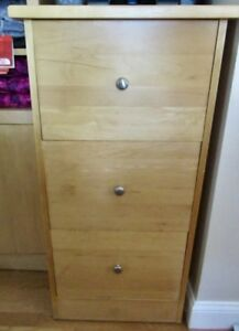 Solid Wood 3 Drawer File Cabinet Locking Euc