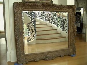 Superb Huge 51 X44 Antique Vtg Carved Gilt Wood Painting Mirror Picture Frame