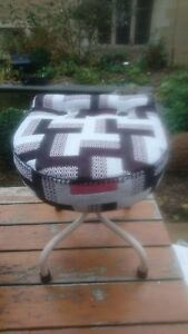 Fab Funky Vintage Retro Mcm Industrial Machinist S Buttoned Stool Pink White