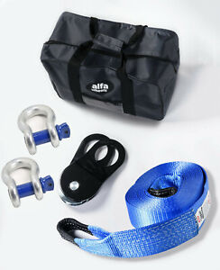 30ft 4wd Suv Truck Winch Recovery 10t Kit Tow Strap snatch Block bow Shackle bag
