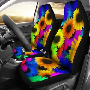 Retro Hippie Colorful Sunflowers Car Seat Covers Universal Fit For Most Cars