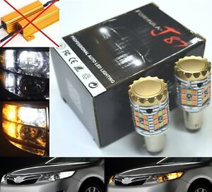 Canbus Error Free Led Light Switchback Amber White Two Bulb 2357 Turn Signal Drl