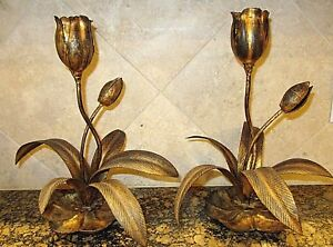 2 Vintage Italy Spain Gold Gilt Metal Tole Flowers Candle Holder Table Pair