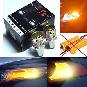 Canbus Error Free Led Light 2357 Amber Two Bulbs Front Turn Signal Replace Stock