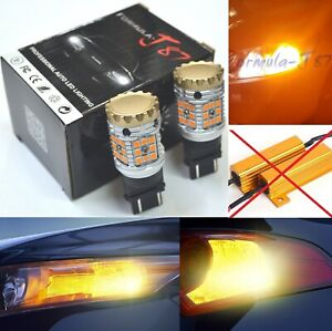 Canbus Error Free Led Light 3457 Amber Two Bulbs Front Turn Signal Upgrade Lamp