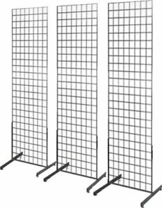 Gridwall Panel Tower With T base Floorstanding Display Kit 3 pack Black 2 x4