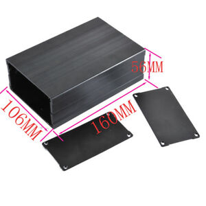2pcs Aluminum Electronic Projects Box Enclosure Case Diy 56x106x160mm Black