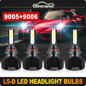 4pcs 9005 9006 Led Car Headlight Kit Dual Color Bulbs 3000k Yellow 6000k White