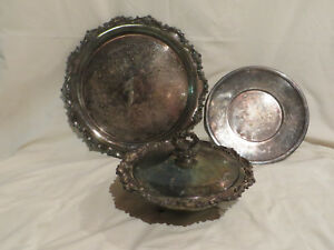 Lot Of Silver Serving Dish With Lid Platters 4 Pieces