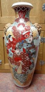 Large Antique Meiji 1900s Nishida Kyoto Japan Satsuma Vase Samurai Warrior Decor